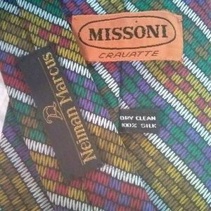 Missoni Zig Zag 100% Silk TIe EUC